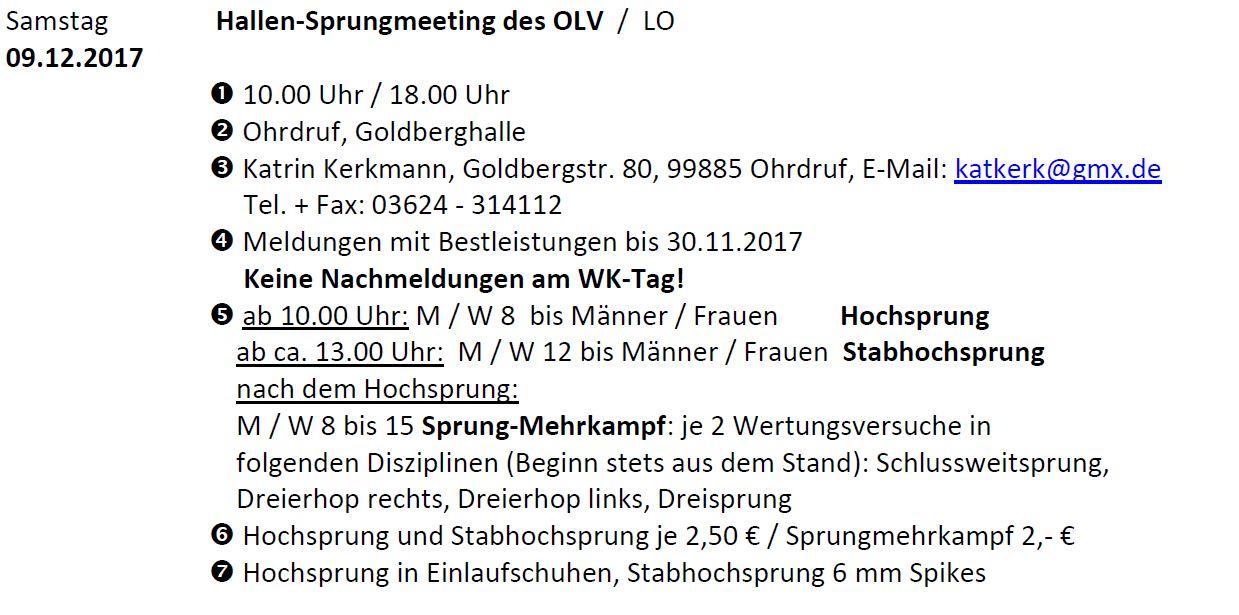16. Hallen-Sprungmeeting des Ohrdrufer LV @ Ohrdruf, Goldberghalle   Ohrdruf   Thüringen   Deutschland
